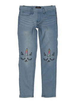 Girls 7-16 Embroidered Caticorn Jeggings - 1629054730007