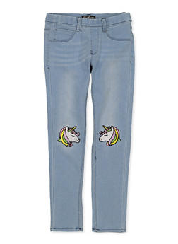 Girls 7-16 Embroidered Unicorn Jeggings - 1629054730014