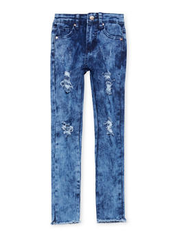 Girls 7-16 Distressed Acid Wash Skinny Jeans - 1629056720013