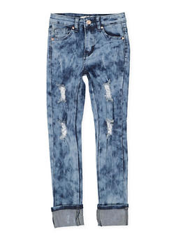 Girls 7-16 Distressed Acid Wash Skinny Jeans - 1629056720029