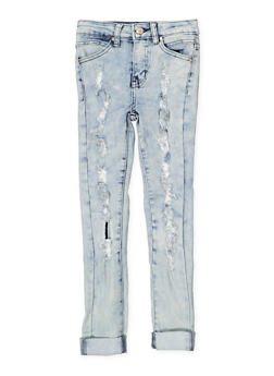 Girls 7-16 Ripped and Frayed Skinny Jeans - 1629056720030