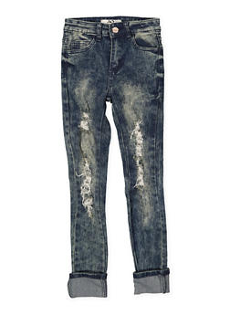 Girls 7-16 Frayed Antique Wash Skinny Jeans - 1629056720031