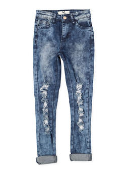 Girls 7-16 Destroyed Acid Wash Jeans - 1629056720032