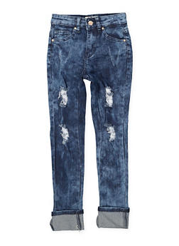 Girls 7-16 Rolled Cuff Destroyed Jeans - 1629056720033