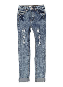 Girls 7-16 Distressed Acid Wash Jeans - 1629056720034
