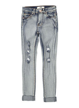 Girls 7-16 Light Wash Cuffed Jeans - 1629056720035