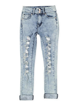 Girls 7-16 Rolled Cuff Destruction Jeans - 1629056720037