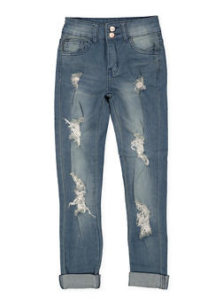Girls 7-16 Destroyed Double Button Skinny Jeans - 1629056720038