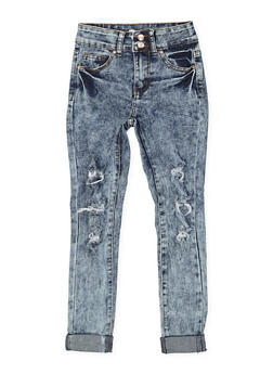 Girls 7-16 Rolled Cuff Distressed Jeans - 1629056720039