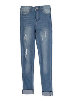 Girls 7-16 Distressed Jeans | Medium Wash - 1629056720043
