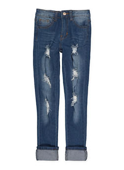 Girls 7-16 Distressed Jeans - 1629056720046