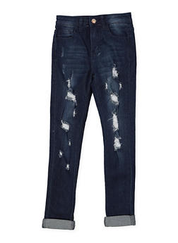 Girls 7-16 Distressed Whisker Wash Jeans - 1629056720047