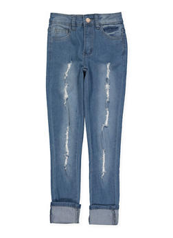 Girls 7-16 Rolled Cuff Frayed Jeans - 1629056720048