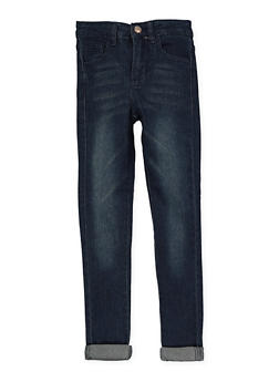 Girls 7-16 Whiskered Rolled Cuff Jeans | Dark Wash - 1629056720049