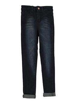 Girls 7-16 Whiskered Straight Leg Jeans | Dark Wash - 1629056720050