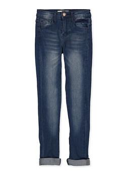 Girls 7-16 Roll Cuff Whiskered Jeans - 1629056720102