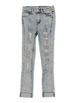 Girls 7-16 Destruction Roll Cuff Jeans - 1629056720394