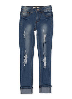 Girls 7-16 Frayed Roll Cuff Jeans - 1629056720396