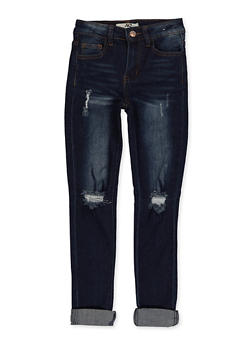 Girls 7-16 Whisker Wash Distressed Jeans - 1629056720397