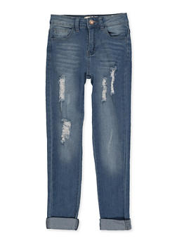 Girls 7-16 Distressed Roll Cuff Jeans - 1629056720399
