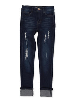 Girls 7-16 Distressed Whisker Wash Jeans - 1629056720400