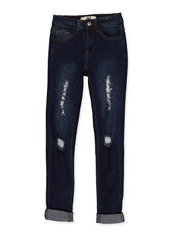 Girls 7-16 Rolled Cuff Jeans | 1629056720401 - 1629056720401