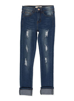 Girls 7-16 Whisker Wash Rolled Cuff Jeans - 1629056720402