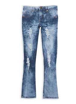 Girls 7-16 Distressed Whisker Wash Jeans - 1629063400054