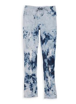 Girls 7-16 Acid Wash Distressed Denim Pants - 1629063400065