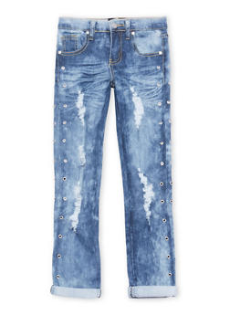 Girls 7-16 Grommet Studded Light Wash Jeans - 1629063400072
