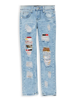 Girls 7-16 Emoji Patch and Repair Jeans - 1629063400088