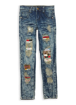 Girls 7-16 Emoji Patch and Repair Jeans - 1629063400089