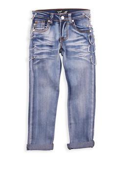 Girls 7-16 Light Wash Rhinestone Chain Link Jeans - 1629063400090