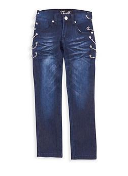 Girls 7-16 Dark Wash Rhinestone Chain Link Jeans - 1629063400091
