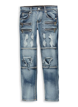 Girls 7-16 Destroyed Jeans with Zipper Detail - 1629063400094
