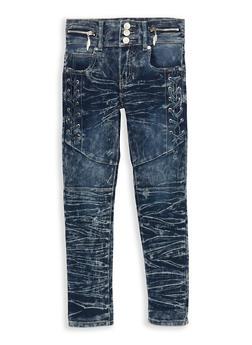 Girls 7-16 Acid Wash Lace Up Jeans - 1629063400096