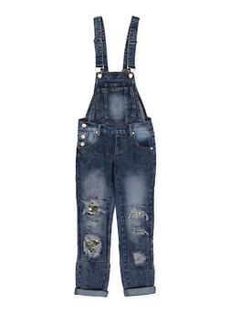 Girls 7-16 Sequin Patch and Repair Denim Overalls - 1629063400105