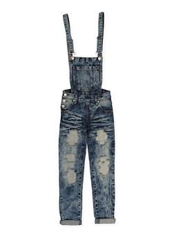 Girls 7-16 Ripped Acid Wash Denim Overalls - 1629063400107