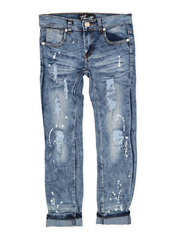 Girls 7-16 Paint Splatter Distressed Jeans - 1629063400113