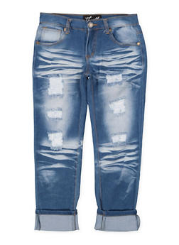 Girls 7-16 Whisker Wash Roll Cuff Jeans - 1629063400114