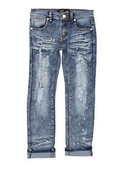 Girls 7-16 Distressed Paint Splatter Jeans - 1629063400115