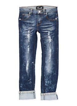 Girls 7-16 Rolled Cuff Distressed Jeans - 1629063400116