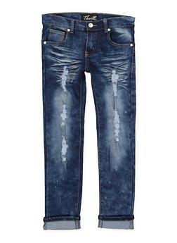 Girls 7-16 Frayed Whisker Wash Skinny Jeans - 1629063400117