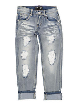 Girls 7-16 Whisker Wash Destruction Jeans - 1629063400118