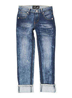 Girls 7-16 Faded Whisker Wash Jeans | Blue - 1629063400119