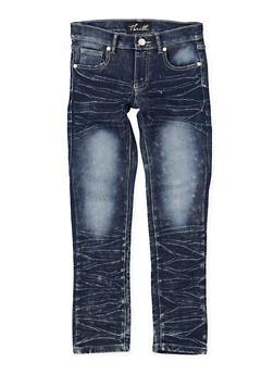 Girls 7-16 Whisker Wash Skinny Jeans - 1629063400120