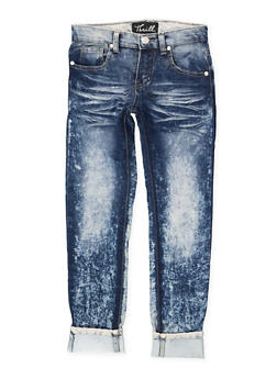 Girls 7-16 Rolled Cuff Whisker Wash Jeans - 1629063400121