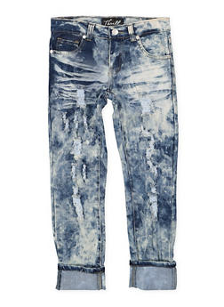 Girls 7-16 Frayed Rolled Cuff Jeans - 1629063400122