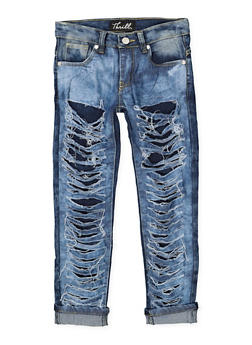 Girls 7-16 Rip and Repair Jeans - 1629063400124