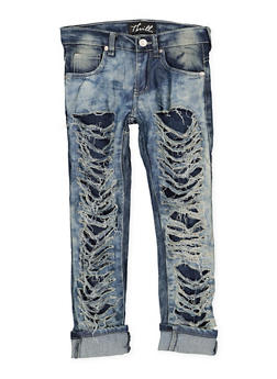 Girls 7-16 Destroyed Cloud Wash Jeans - 1629063400125